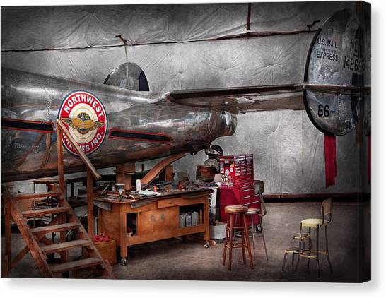 Stool Canvas Print - Airplane - The Repair Hanger  by Mike Savad