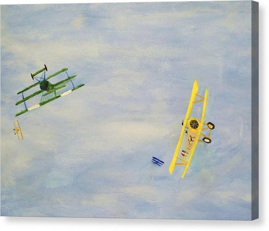 Toy Airplanes Canvas Print - Airplanes At Play Horizontal Position 2 by Carl S Kralich