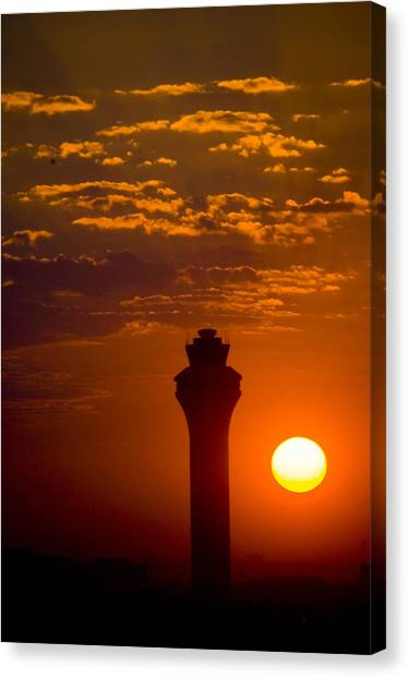 Air Traffic Control Canvas Print - Airport Control Tower At Sunrise, Texas by Gabe Rogel