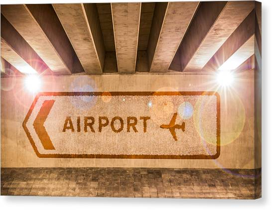 Turn Signals Canvas Print - Airport Directions by Semmick Photo