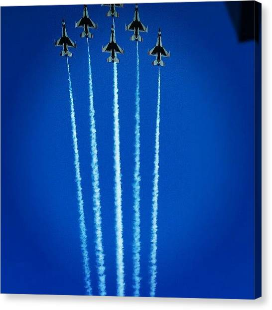 Jets Canvas Print - #airshow #jets #sky #blue #bluesky by Sarah Booth