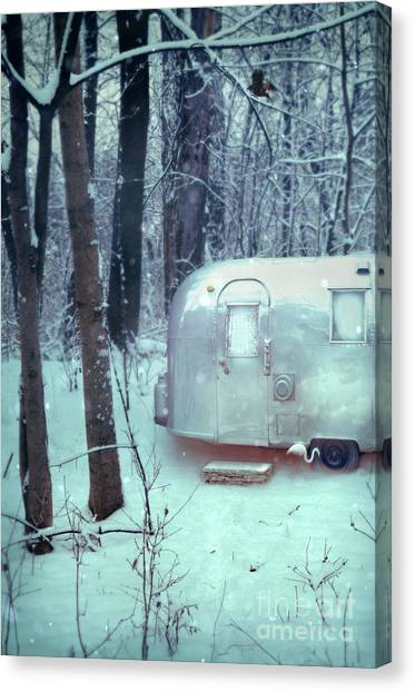 Airstream Trailer In Snowy Woods Canvas Print