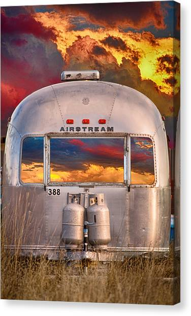 Airstream Travel Trailer Camping Sunset Window View Canvas Print