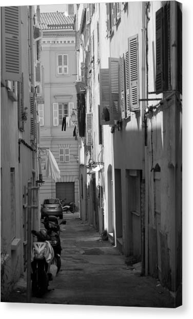Canvas Print featuring the photograph Ajaccio Back Alley by Brad Brizek