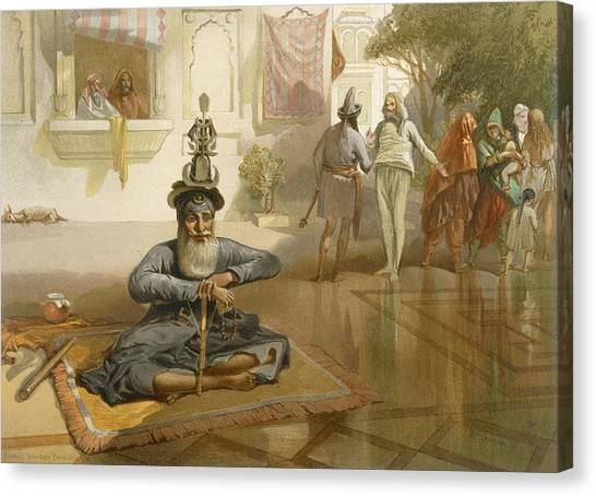 Sikh Canvas Print - Akalis At The Holy Tank, Umritsar by William 'Crimea' Simpson