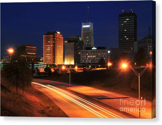 D1u-140 Akron Ohio Night Skyline Photo Canvas Print