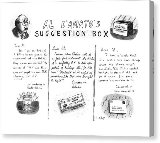 Bill Clinton Canvas Print - Al D'amato's Suggestion Box by Roz Chast