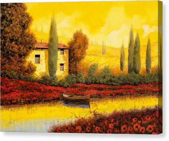 Cypress Canvas Print - Al Tramonto Sul Fiume by Guido Borelli