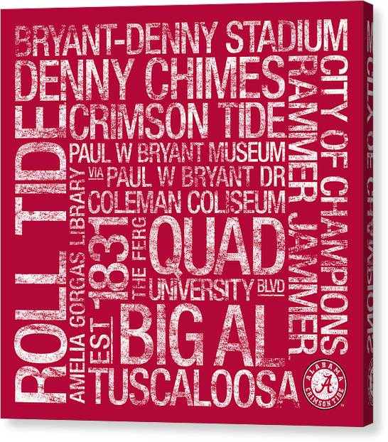 The University Of Alabama Canvas Print - Alabama College Colors Subway Art by Replay Photos