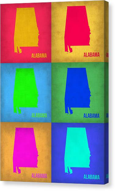 Alabama Canvas Print - Alabama Pop Art Map 1 by Naxart Studio
