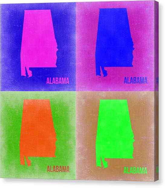 Alabama Canvas Print - Alabama Pop Art Map 2 by Naxart Studio