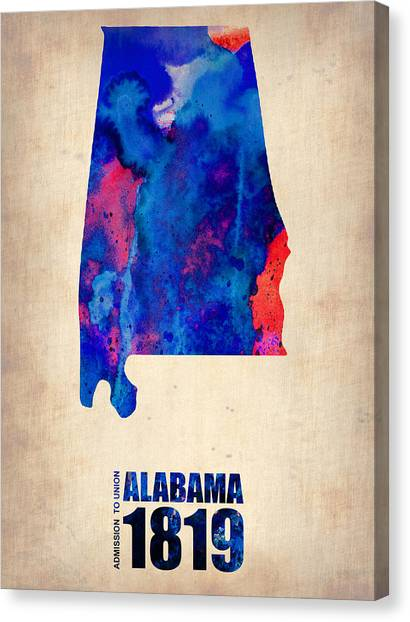 Alabama Canvas Print - Alabama Watercolor Map by Naxart Studio