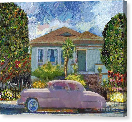 Alameda 1908 House 1950 Pink Dodge Canvas Print