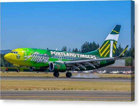Portland Timbers Canvas Print - Alaska Air - Portland Timbers by Chris Malone