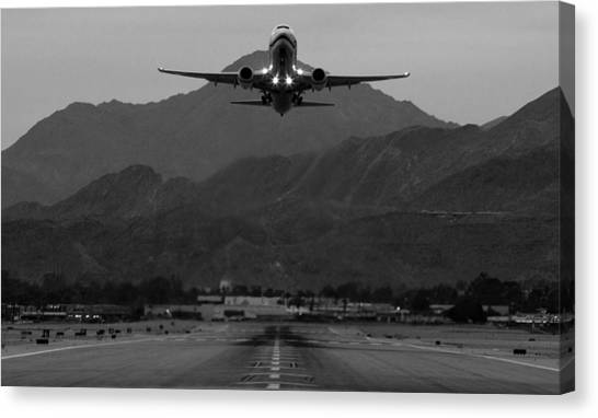 Airplanes Canvas Print - Alaska Airlines Palm Springs Takeoff by John Daly