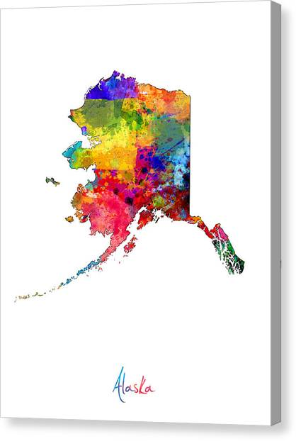 Geography Canvas Print - Alaska Map by Michael Tompsett