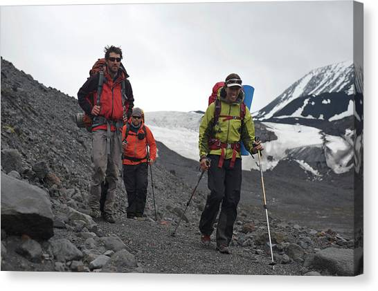 Backpacks Canvas Print - Alaska Ski Mountaineering by HagePhoto