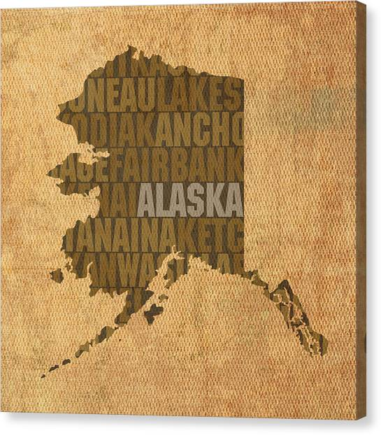 Map Canvas Print - Alaska Word Art State Map On Canvas by Design Turnpike