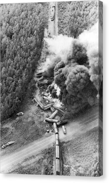 Freight Trains Canvas Print - Alaskan Train Wreck by Underwood Archives
