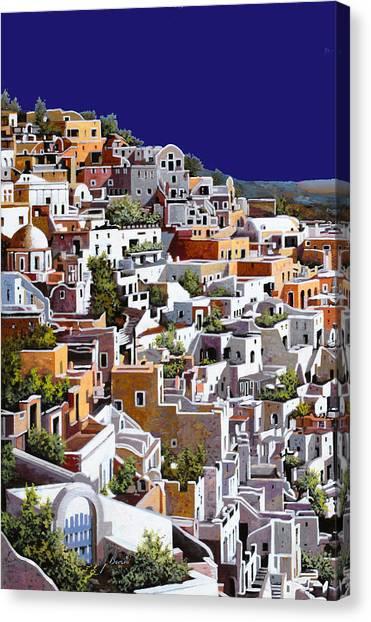 Home Canvas Print - alba a Santorini by Guido Borelli