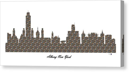 Albany New York 3d Stone Wall Skyline Canvas Print