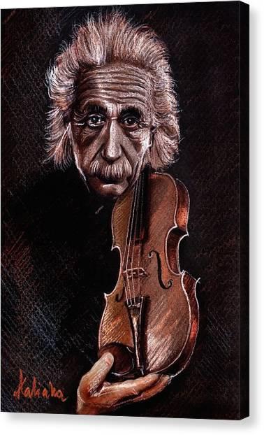 Albert Einstein And Violin Canvas Print