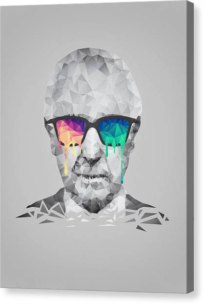 Warped Canvas Print - Albert Hofmann - Psychedelic Polygon Crystalised Portrait by Philipp Rietz