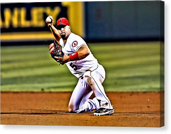 Los Angeles Angels Canvas Print - Albert Pujols by Florian Rodarte