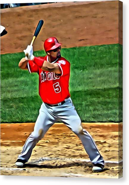 Los Angeles Angels Canvas Print - Albert Pujols Painting by Florian Rodarte
