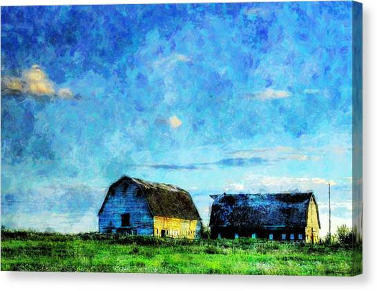 Alberta Barn At Sunset Canvas Print