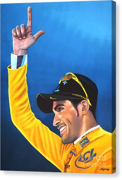Tour De France Canvas Print - Alberto Contador by Paul Meijering