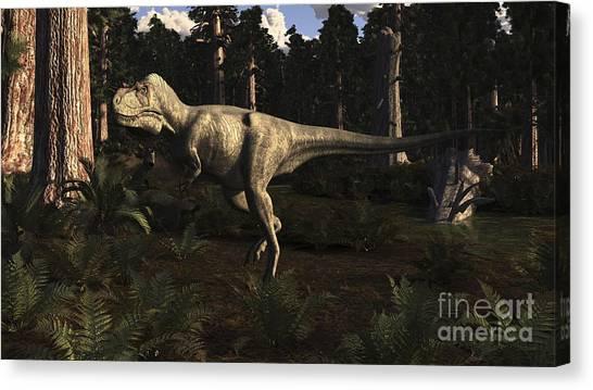 Albertosaurus Canvas Print - Albertosaurus Sarcophagus Wanders by Arthur Dorety