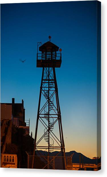 National Guard Canvas Print - Alcatraz Guard Tower by Steve Gadomski