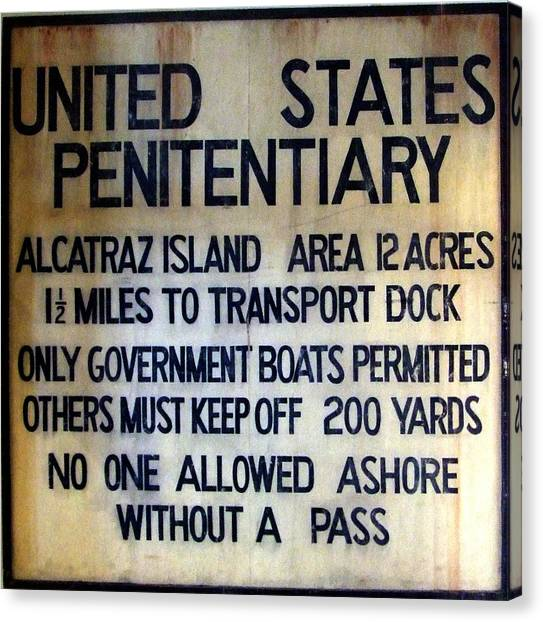 Alcatraz Warning Canvas Print