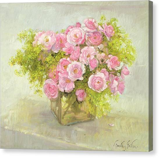 In Bloom Canvas Print - Alchemilla And Roses by Timothy Easton
