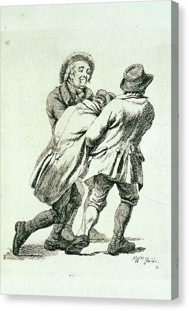 Alcoholic Being Lead Home Canvas Print by George Bernard/science Photo Library