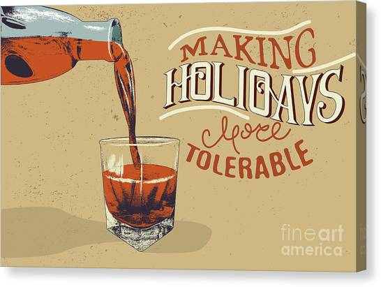 Bourbon Canvas Print - Alcoholic Drink Is Poured From Bottle by Dimonika