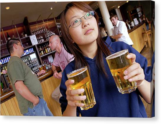 Pint Glass Canvas Print - Alcoholic Drinks by Jim Varney/science Photo Library