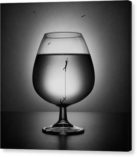 Drown Canvas Print - Alcoholism. The Drowning by Victoria Ivanova
