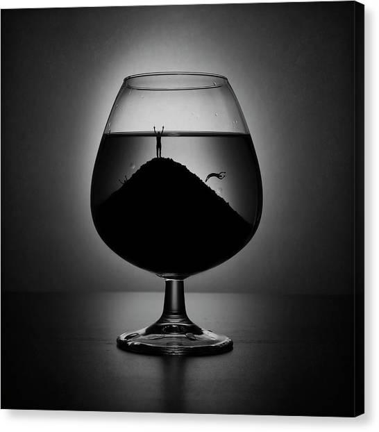 Drown Canvas Print - Alcoholism by Victoria Ivanova