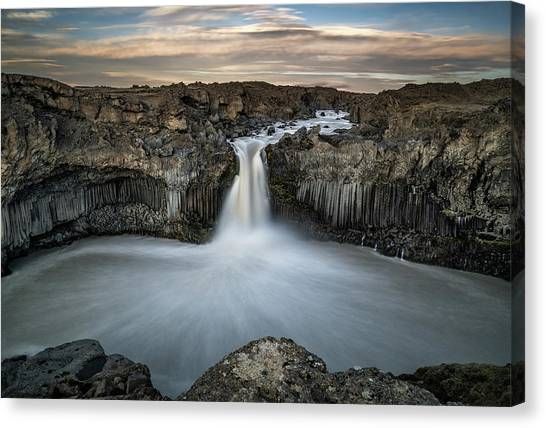 Cliffs Canvas Print - Aldeyjarfoss Waterfall North Iceland by Ronny Olsson