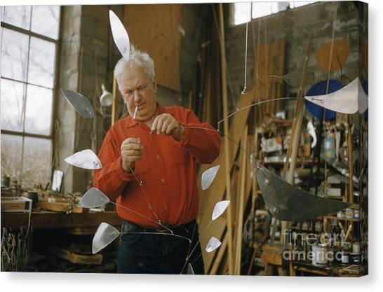 Sculptors Canvas Print - Alexander Calder In His Studio 1958 by The Harrington Collection
