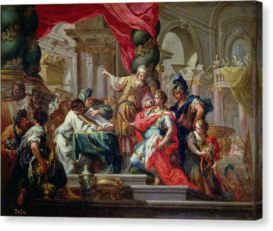 Priests Canvas Print - Alexander The Great In The Temple Of Jerusalem, C.1750 Oil On Canvas by Sebastiano Conca