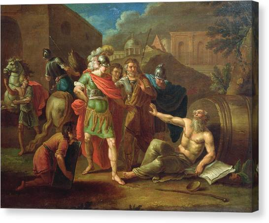 Philosopher Canvas Print - Alexander The Great Visits Diogenes At Corinth, 1787 Oil On Canvas by Ivan Philippovich Tupylev