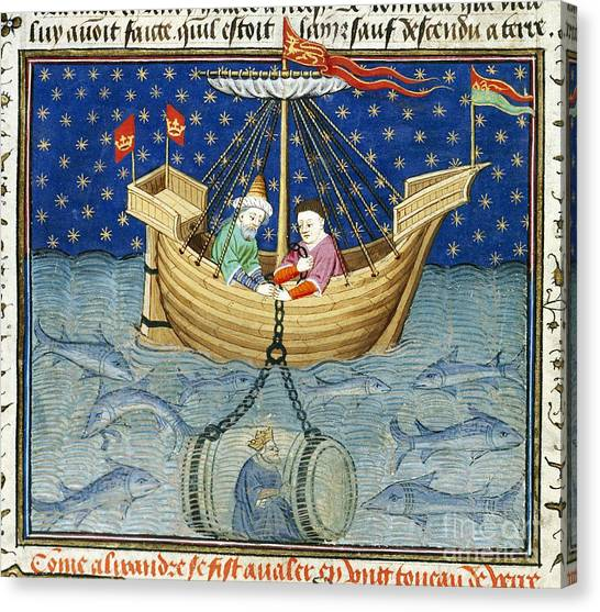 Diving Bell Canvas Print - Alexander's Diving Bell, Medieval Artwork by British Library