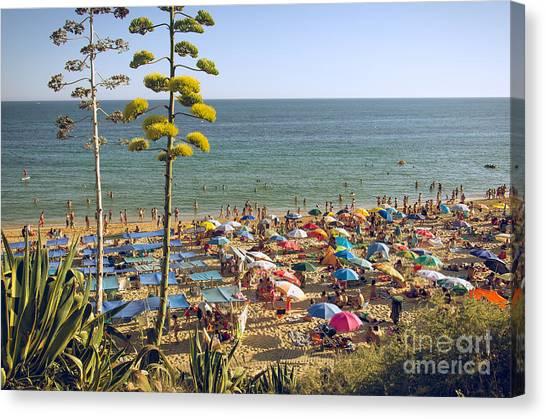 People On Beach Canvas Print - Algarve Beach by Carlos Caetano