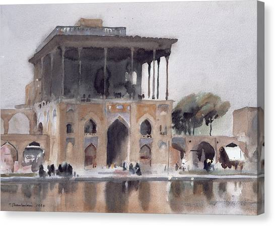 Iranian Canvas Print - Ali Qapu Palace, Isfahan, 1994 Wc On Paper by Trevor Chamberlain