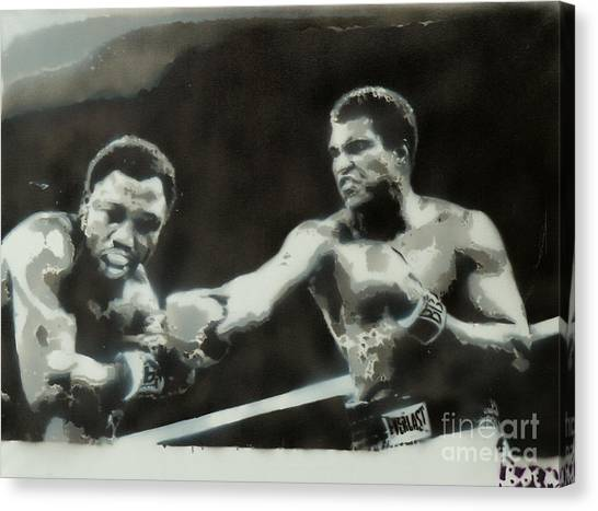 Joe Frazier Canvas Print - Ali Vs Frazier by Barry Boom