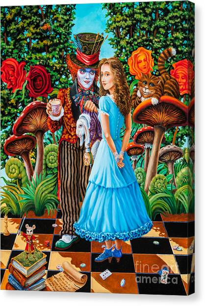 Alice And Mad Hatter. Part 2 Canvas Print