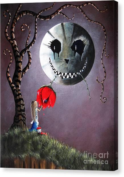 Burton Canvas Print - Alice In Wonderland Original Artwork - Alice And The Dripping Rose by Shawna Erback